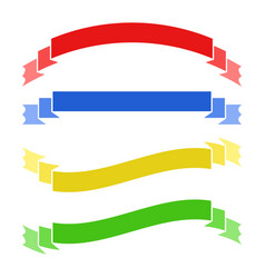 Set of colored flat isolated ribbon banner on a vector