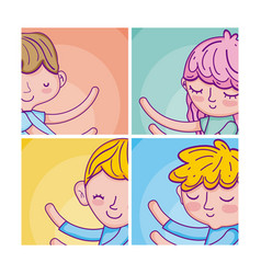 set of cute kids cartoons cards vector image