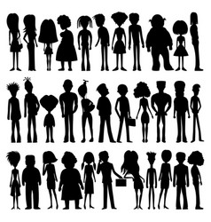 set of silhouettes of cartoon people vector image