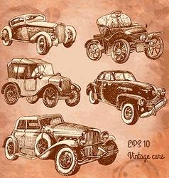 set vintage cars vector image