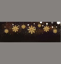 shiny sparkling snowflakes on dark background vector image