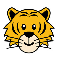 simple cartoon of a cute tiger vector image