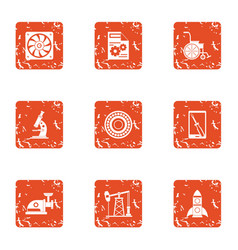 Study of fuel icons set grunge style vector