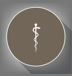 Symbol of the medicine white icon on vector