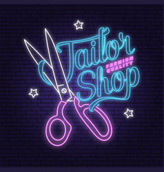tailor shop neon design or emblem vector image