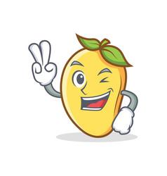 Two finger mango character cartoon mascot vector