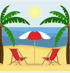 two sunbeds with sun umbrella on the sandy beach vector image