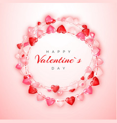 Valentines day greeting card template with text vector