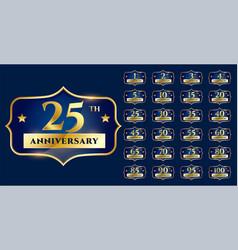 Wedding anniversary golden labels design set vector