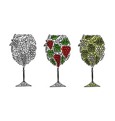wine sketch for your design vector image