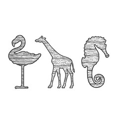 wooden animals set silhouette sketch vector image