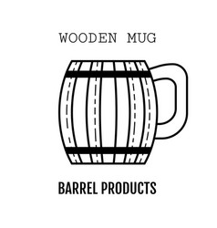 wooden mug for beer drinks black and white flat vector image