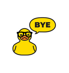Yellow duck with speech bubble isolated on white vector