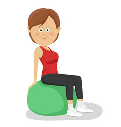 Young woman sitting on yoga ball vector