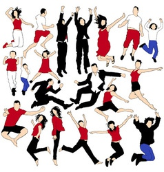 20 Jumping People Silhouettes vector image vector image