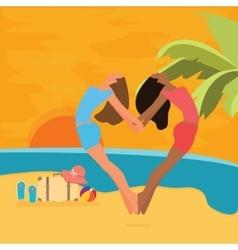 beach woman having fun sunset jump heart symbol vector image