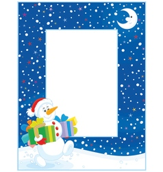 Border with Christmas Snowman vector image vector image