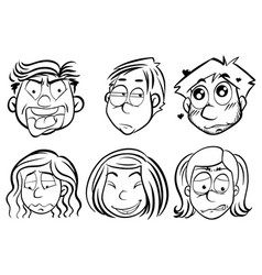 men and women with different emotions vector image vector image