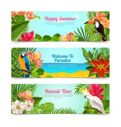 Tropical island flowers horizontal banners set vector image