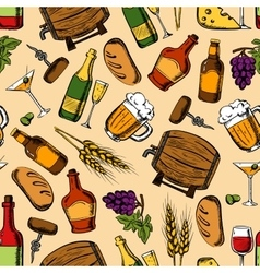 Alcohol drinks with snacks seamless pattern vector image