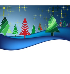 Christmas landscape with colorful trees vector image vector image