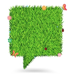Speech bubble green grass texture background vector image vector image