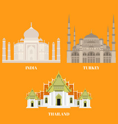 thailand turkey and india travel icons country vector image