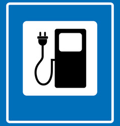 electric car charging station sign icon against vector image