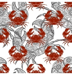 Grey and red crabs seamless pattern vector