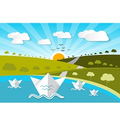 Paper Nature Background with Lake Trees Clouds vector image vector image