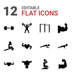 12 strong icons vector image