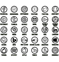 30 black social media icons vector image