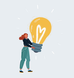 a business woman pick some idea on white vector image