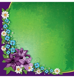Abstract spring floral background with purple vector
