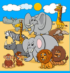 african wild animals cartoon characters group vector image