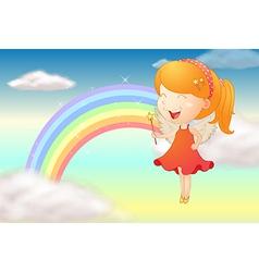 An angle girl and a rainbow vector