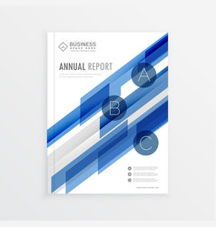annual report template design with blue abstract vector image