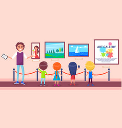 Art gallery excursion for children with guide vector
