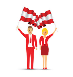 austria flag waving man and woman vector image