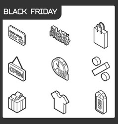 black friday isometric icons vector image