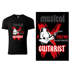 Black t-shirt with hard rock guitarist vector