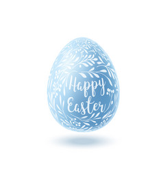 blue easter egg with floral pattern vector image
