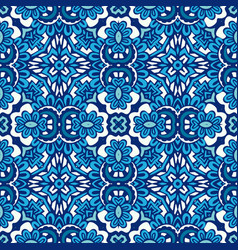 Blue geometric floral seamless tile pattern vector