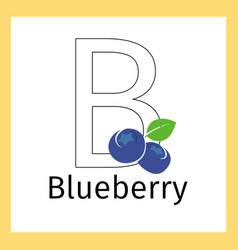 Blueberry and letter b coloring page vector
