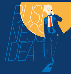businessman with light bulb instead head idea vector image