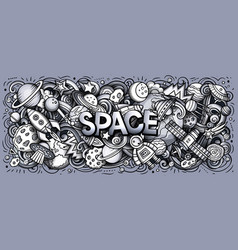 Cartoon cute doodles space word toned horizontal vector