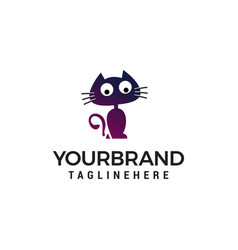 cat stand cartoon logo design concept template vector image