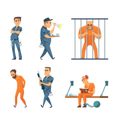 Characters set of guards and prisoners vector