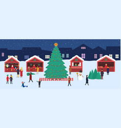 christmas market with souvenir stalls and a large vector image