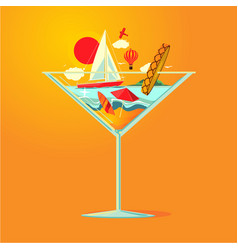 cold cocktail and beach resort landscape double vector image
